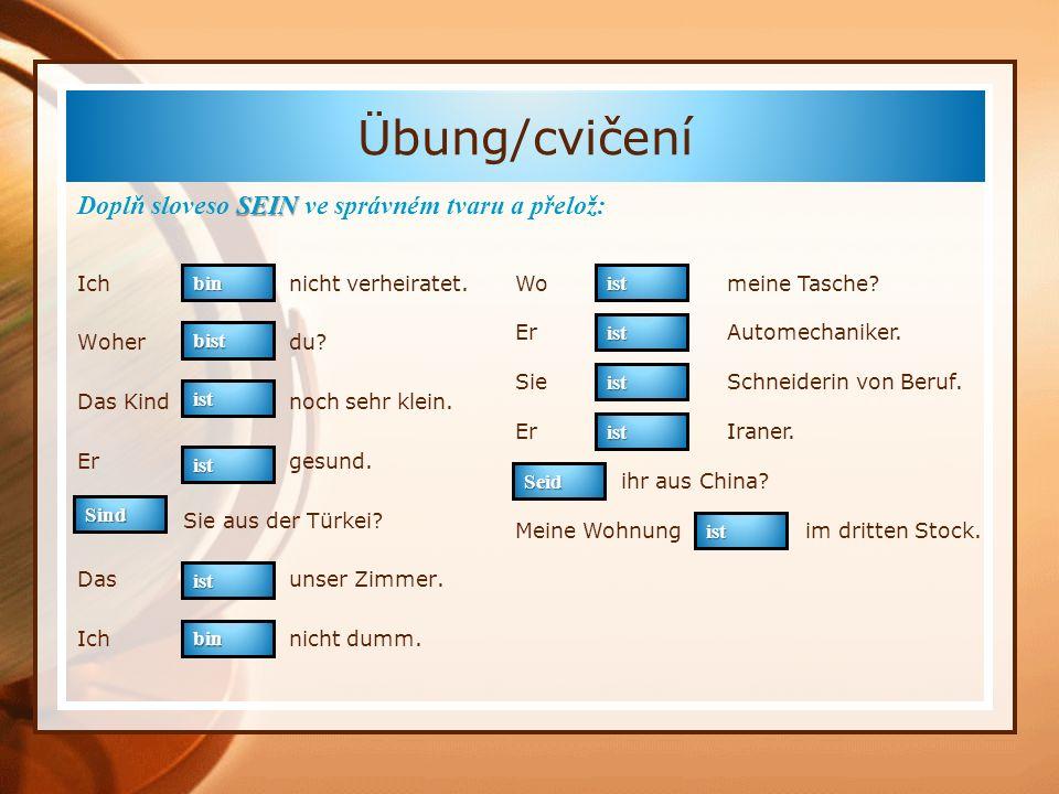 Übung/cvičení Doplň sloveso SEIN ve správném tvaru a přelož: