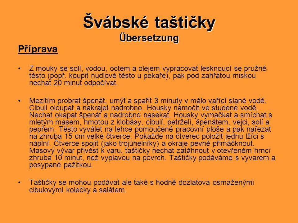 Švábské taštičky Übersetzung