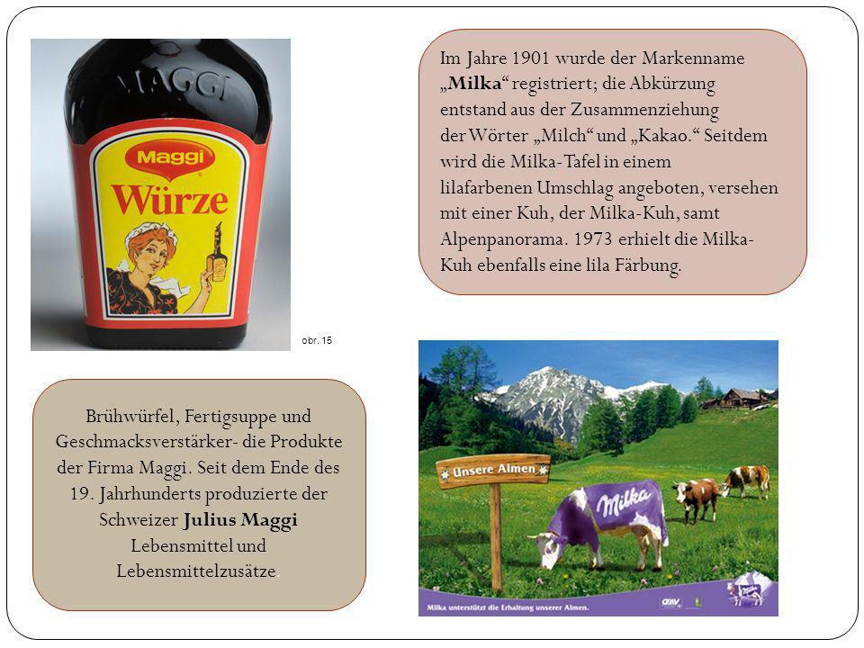 """Im Jahre 1901 wurde der Markenname """"Milka registriert; die Abkürzung entstand aus der Zusammenziehung der Wörter """"Milch und """"Kakao. Seitdem wird die Milka-Tafel in einem lilafarbenen Umschlag angeboten, versehen mit einer Kuh, der Milka-Kuh, samt Alpenpanorama. 1973 erhielt die Milka-Kuh ebenfalls eine lila Färbung."""