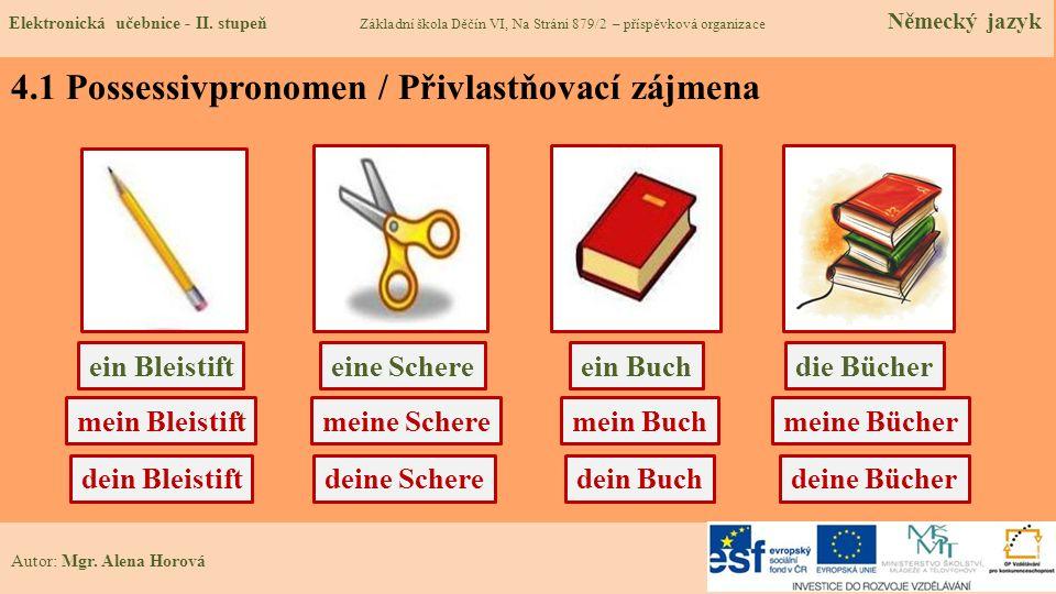 4.1 Possessivpronomen / Přivlastňovací zájmena