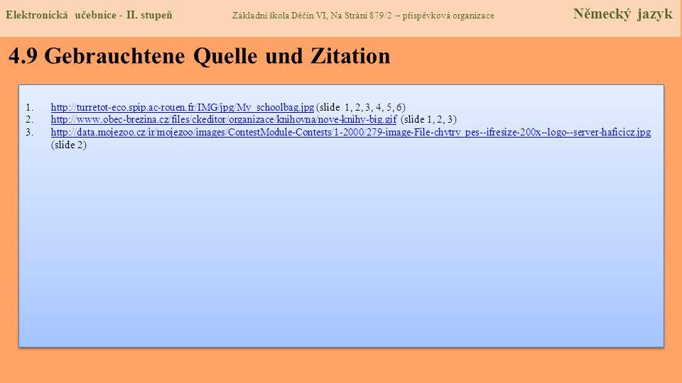 4.9 Gebrauchtene Quelle und Zitation