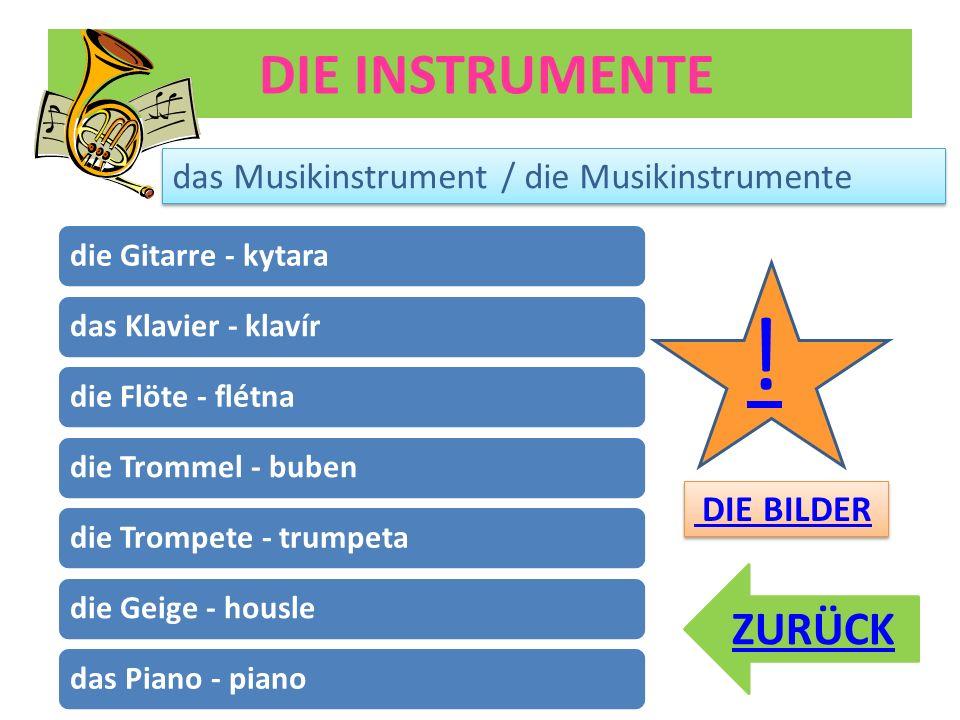! DIE INSTRUMENTE ZURÜCK das Musikinstrument / die Musikinstrumente