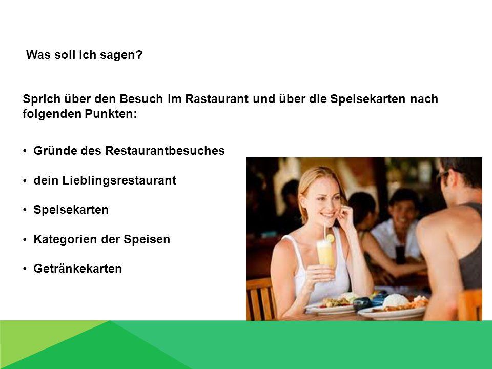 Gründe des Restaurantbesuches dein Lieblingsrestaurant Speisekarten