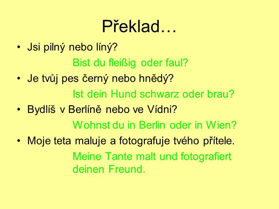 Překlad… Jsi pilný nebo líný Bist du fleißig oder faul