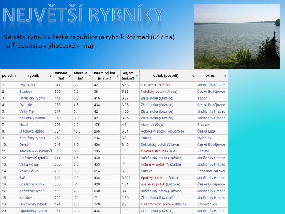 Největší rybníky Největší rybník v české republice je rybník Rožmerk(647 ha) na Třeboňsku v jihočeském kraji.