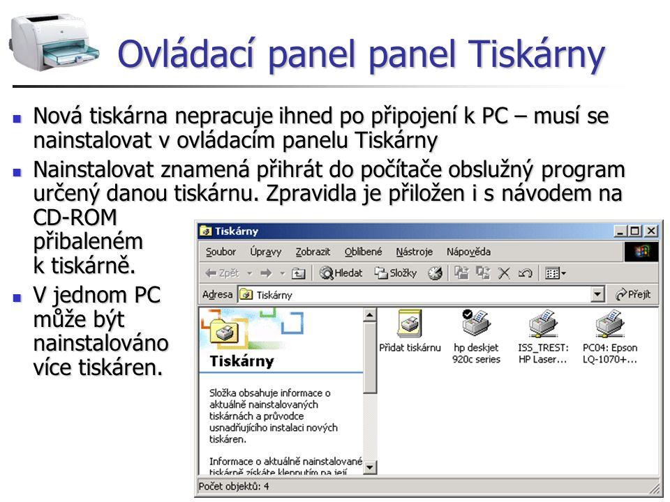 Ovládací panel panel Tiskárny