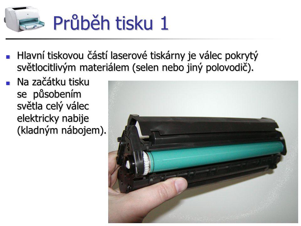 Průběh tisku 1 Hlavní tiskovou částí laserové tiskárny je válec pokrytý světlocitlivým materiálem (selen nebo jiný polovodič).
