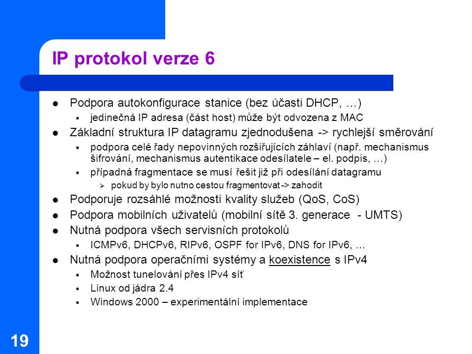 IP protokol verze 6 Podpora autokonfigurace stanice (bez účasti DHCP, …) jedinečná IP adresa (část host) může být odvozena z MAC.