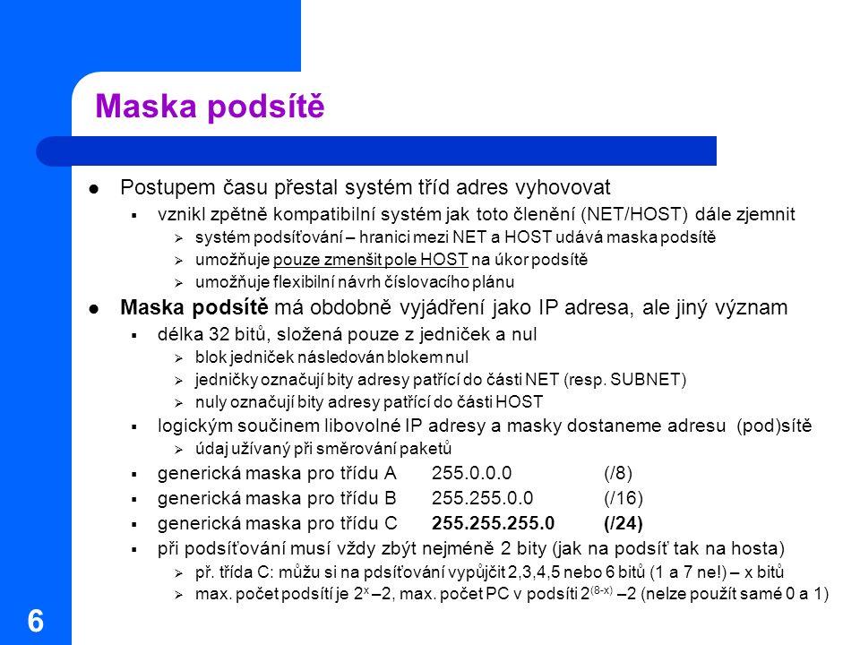 Maska podsítě Postupem času přestal systém tříd adres vyhovovat