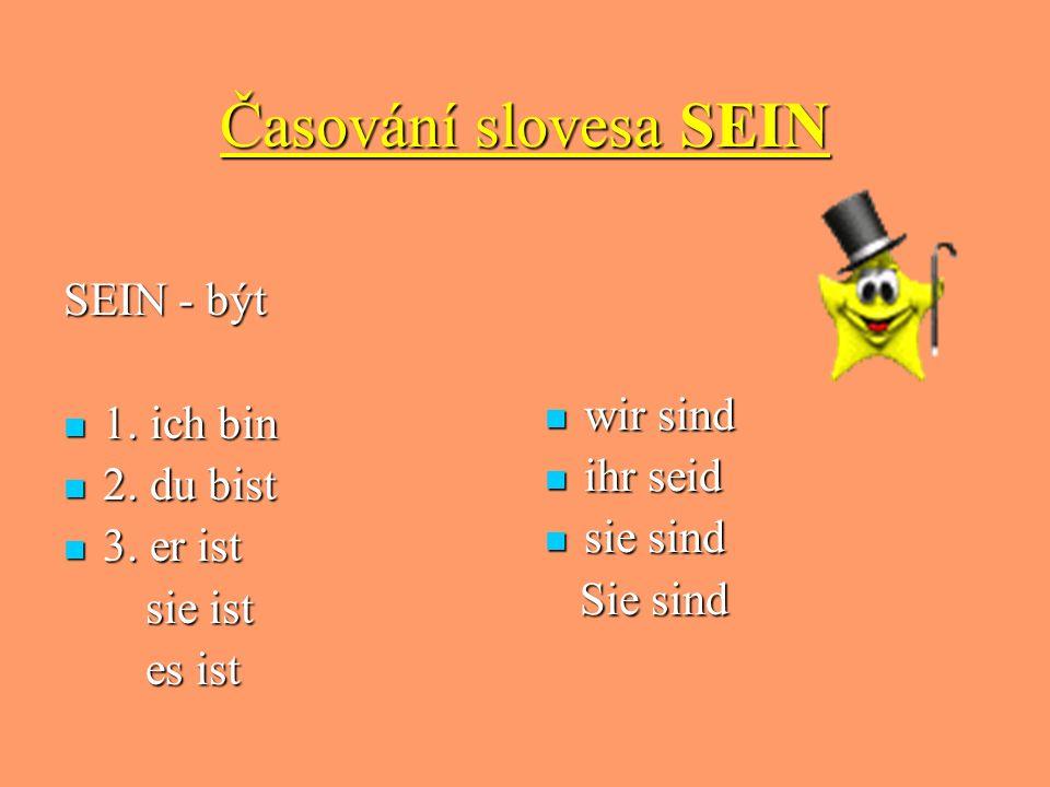 Časování slovesa SEIN SEIN - být wir sind 1. ich bin ihr seid