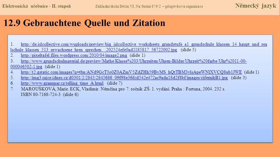 12.9 Gebrauchtene Quelle und Zitation