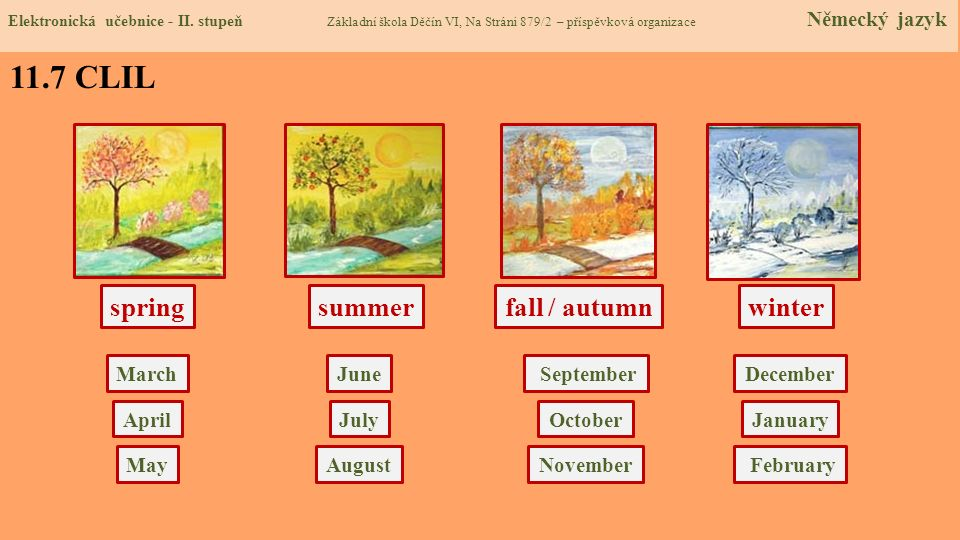 11.7 CLIL spring summer fall / autumn winter March June September