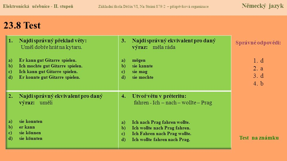 23.8 Test d a b Najdi správný překlad věty: Uměl dobře hrát na kytaru.