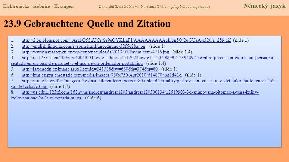 23.9 Gebrauchtene Quelle und Zitation