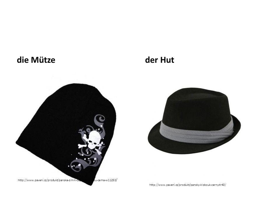 die Mütze der Hut.