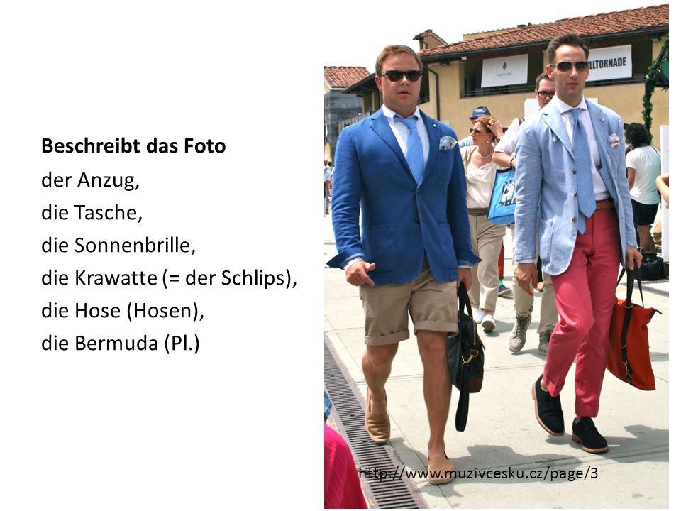 Beschreibt das Foto der Anzug, die Tasche, die Sonnenbrille, die Krawatte (= der Schlips), die Hose (Hosen), die Bermuda (Pl.)