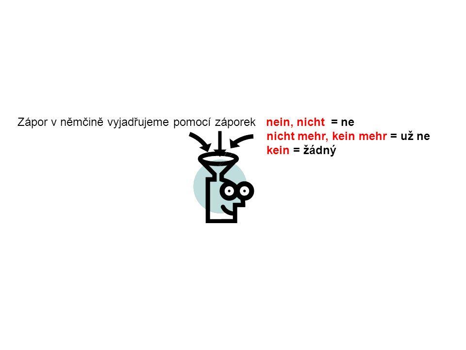 Zápor v němčině vyjadřujeme pomocí záporek nein, nicht = ne