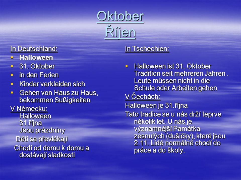 Oktober Říjen In Deutschland: Halloween 31. Oktober in den Ferien