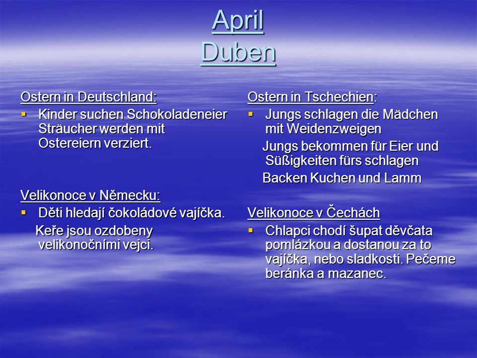 April Duben Ostern in Deutschland: