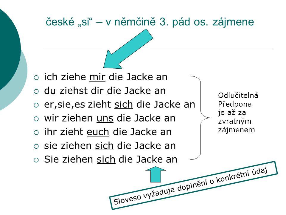 """české """"si – v němčině 3. pád os. zájmene"""