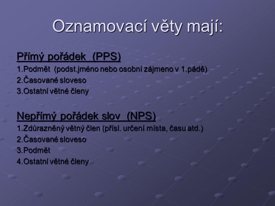 Oznamovací věty mají: Přímý pořádek (PPS) Nepřímý pořádek slov (NPS)