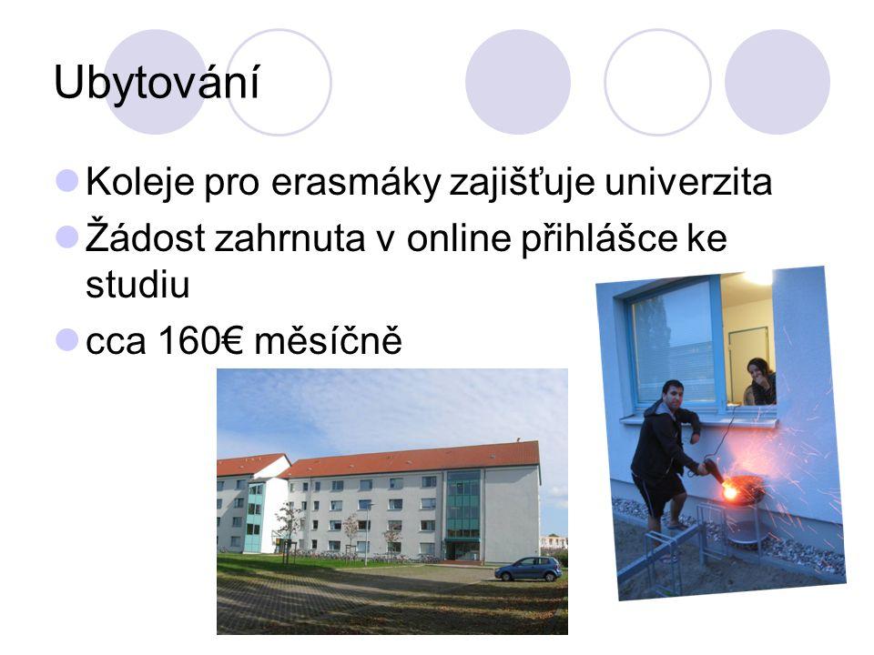 Ubytování Koleje pro erasmáky zajišťuje univerzita