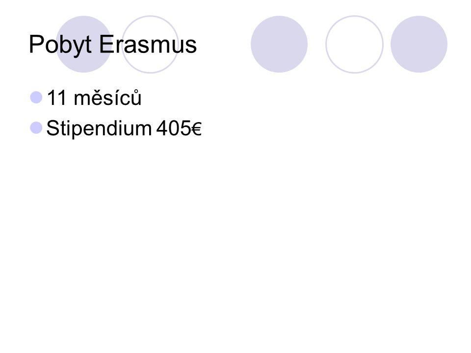 Pobyt Erasmus 11 měsíců Stipendium 405€
