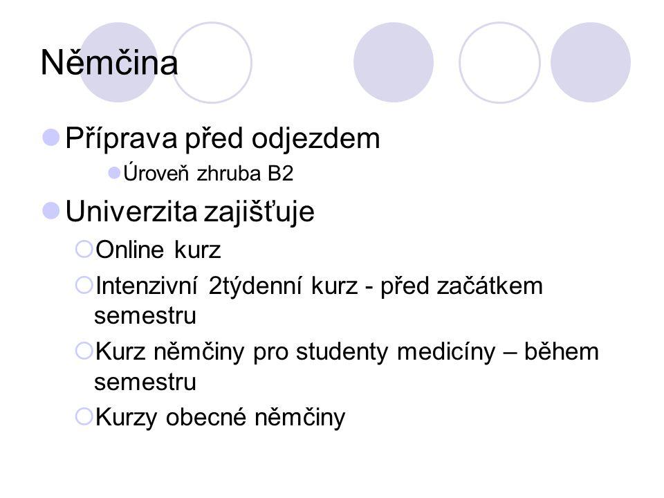 Němčina Příprava před odjezdem Univerzita zajišťuje Online kurz