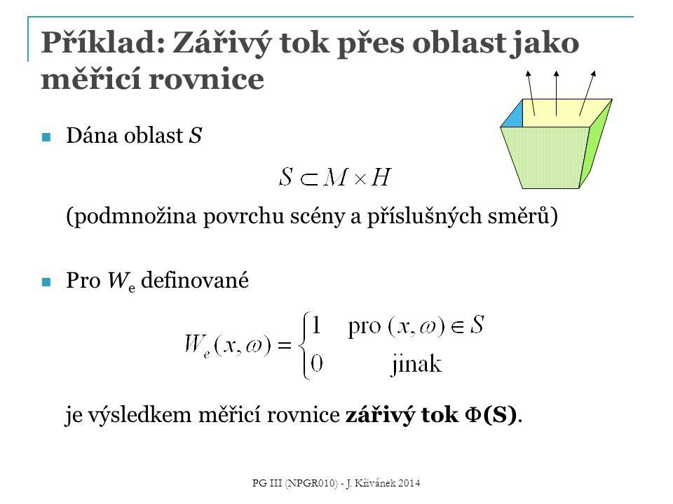 Příklad: Zářivý tok přes oblast jako měřicí rovnice
