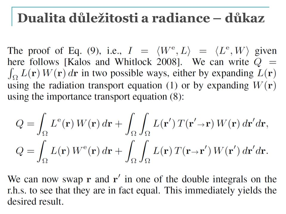Dualita důležitosti a radiance – důkaz