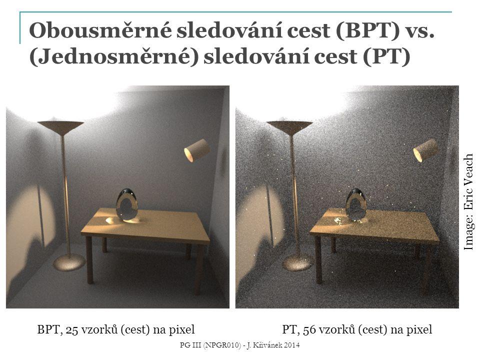 Obousměrné sledování cest (BPT) vs. (Jednosměrné) sledování cest (PT)