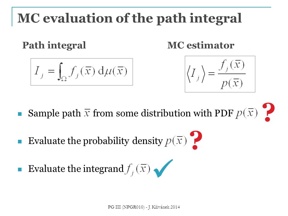 MC evaluation of the path integral