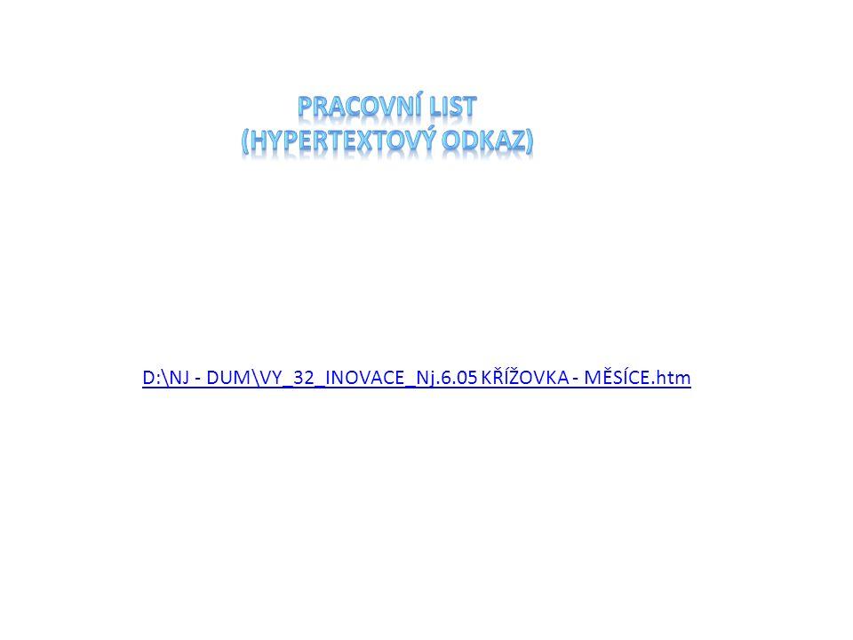 Pracovní list (hypertextový odkaz)