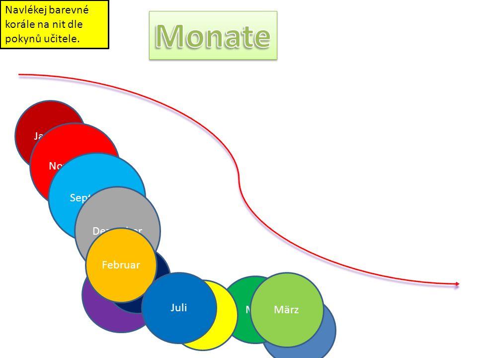 Monate Navlékej barevné korále na nit dle pokynů učitele. Januar