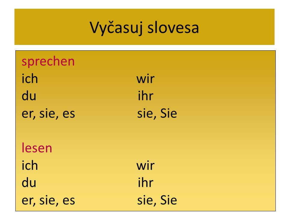 Vyčasuj slovesa sprechen. ich wir. du ihr.