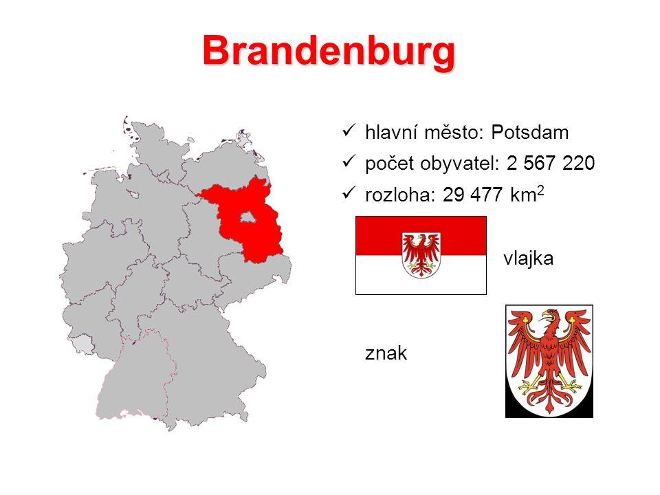 Brandenburg hlavní město: Potsdam počet obyvatel: 2 567 220