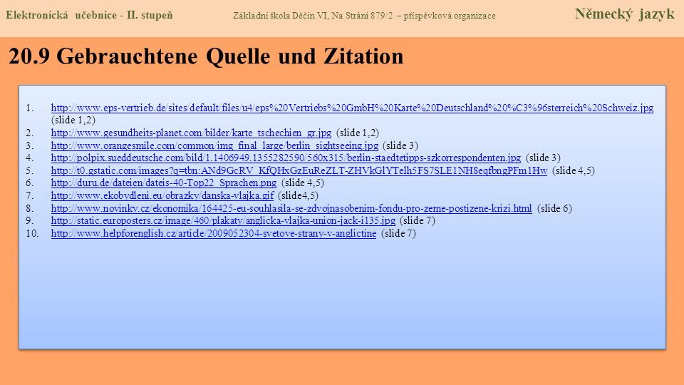20.9 Gebrauchtene Quelle und Zitation