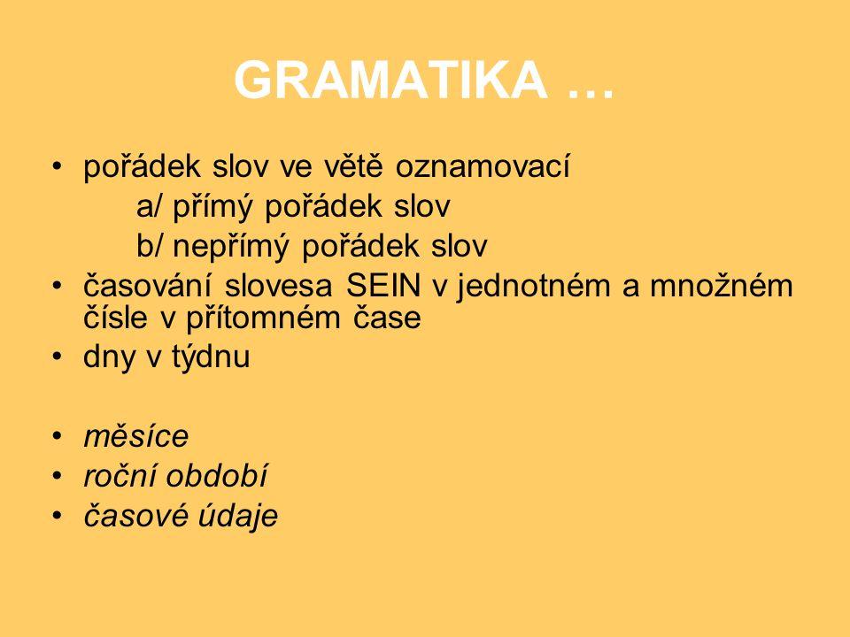 GRAMATIKA … pořádek slov ve větě oznamovací a/ přímý pořádek slov