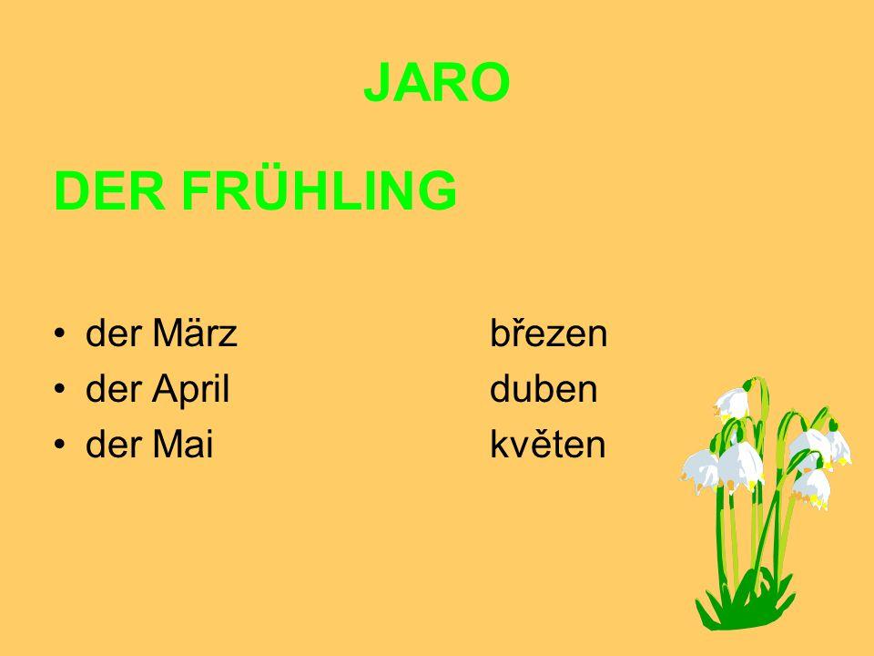 JARO DER FRÜHLING der März březen der April duben der Mai květen