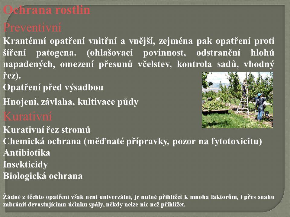 Ochrana rostlin Preventivní Kurativní
