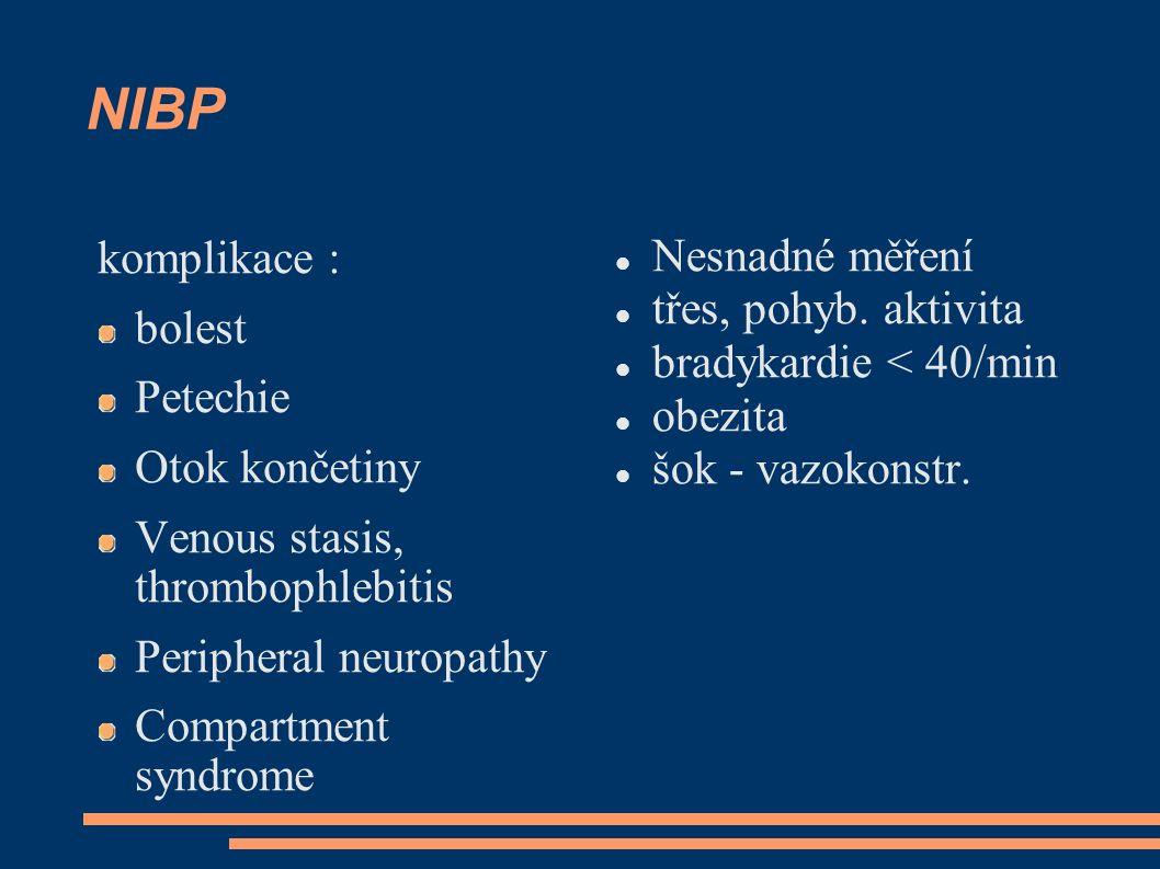 NIBP Nesnadné měření komplikace : třes, pohyb. aktivita bolest