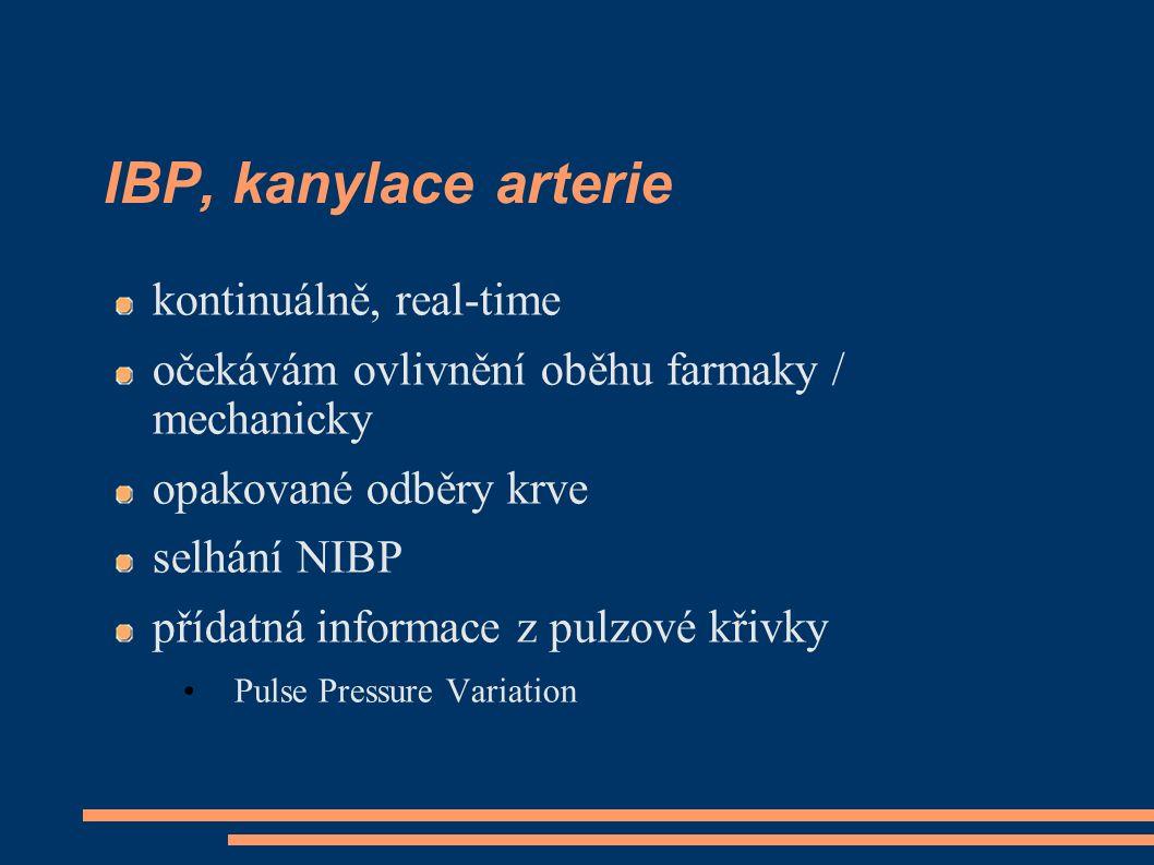 IBP, kanylace arterie kontinuálně, real-time