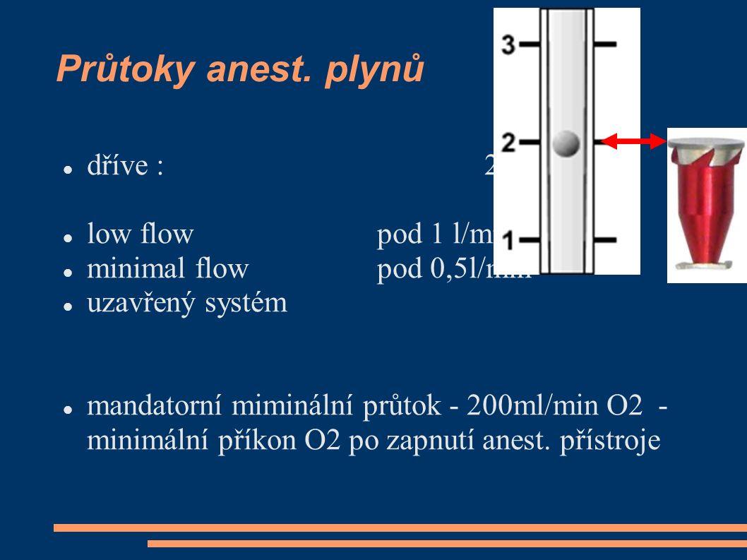 Průtoky anest. plynů dříve : 2..4 l/min low flow pod 1 l/min