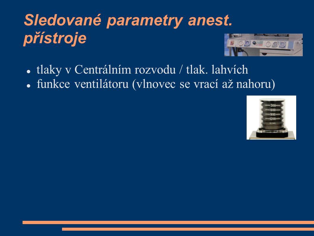 Sledované parametry anest. přístroje