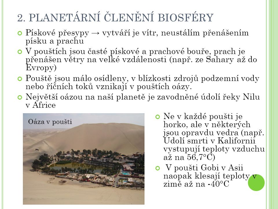 2. PLANETÁRNÍ ČLENĚNÍ BIOSFÉRY