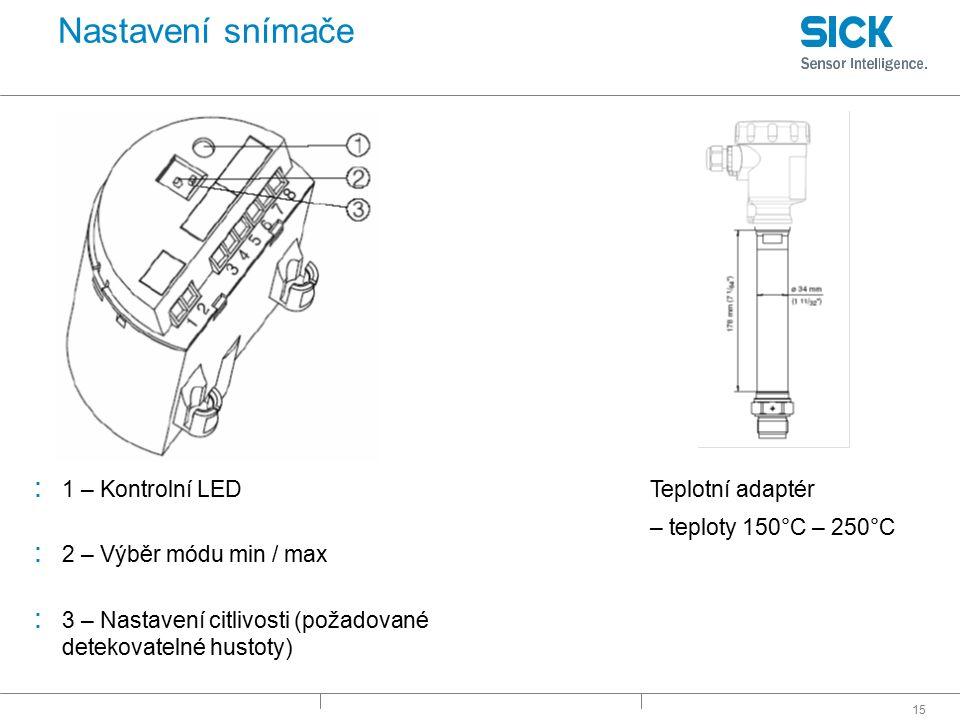 Nastavení snímače 1 – Kontrolní LED Teplotní adaptér