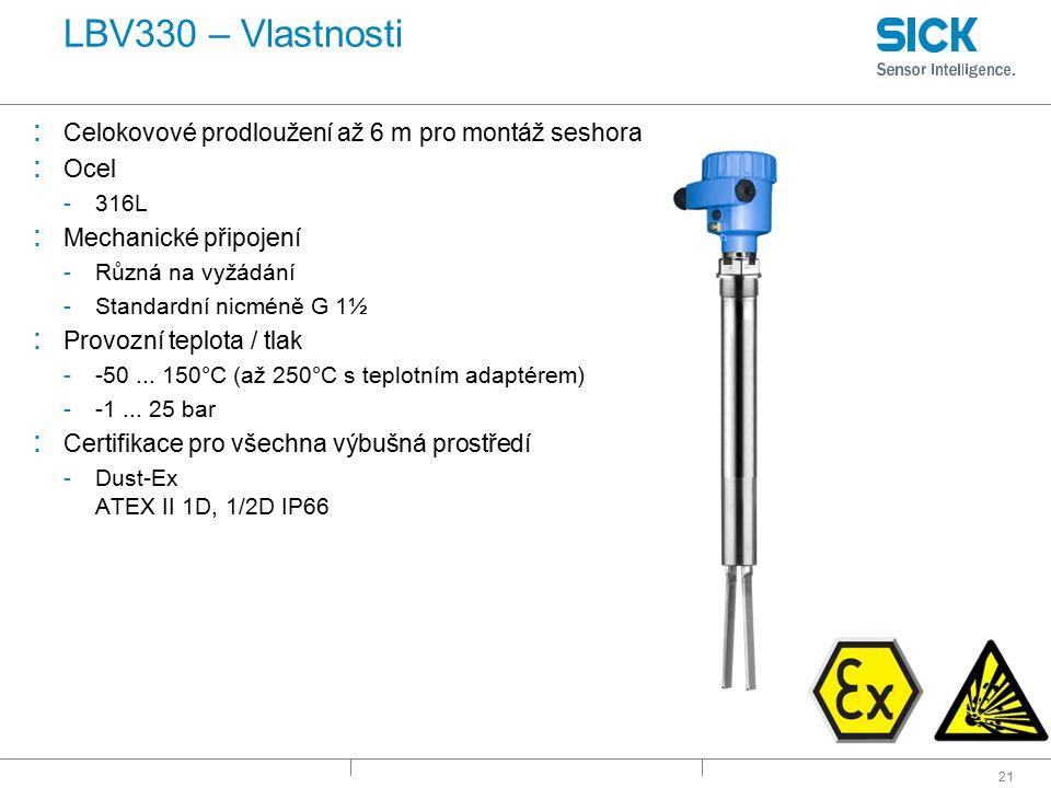 LBV330 – Vlastnosti Celokovové prodloužení až 6 m pro montáž seshora