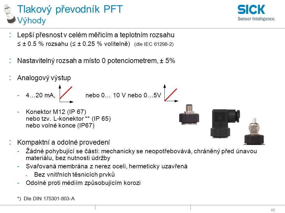 Tlakový převodník PFT Výhody