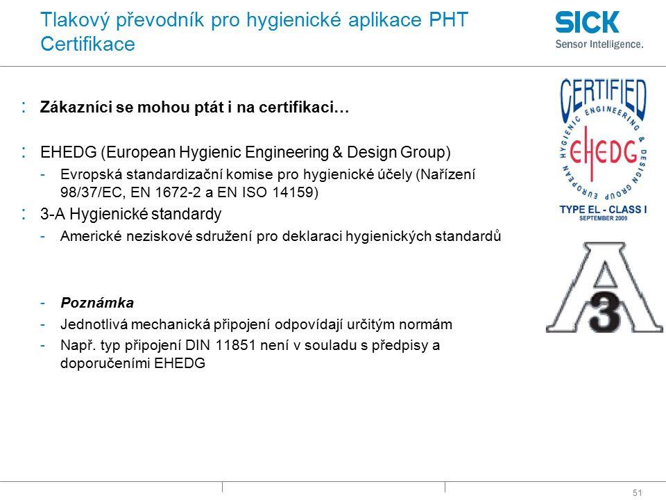 Tlakový převodník pro hygienické aplikace PHT Certifikace