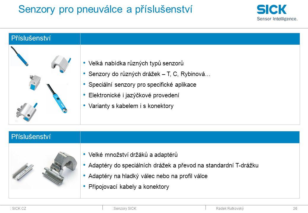 Senzory pro pneuválce a příslušenství